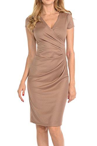 Beige Womens Dress - Auliné Collection Womens V-neck Zip Up Work Office Career Side Wrap Sheath Dress Khaki Large