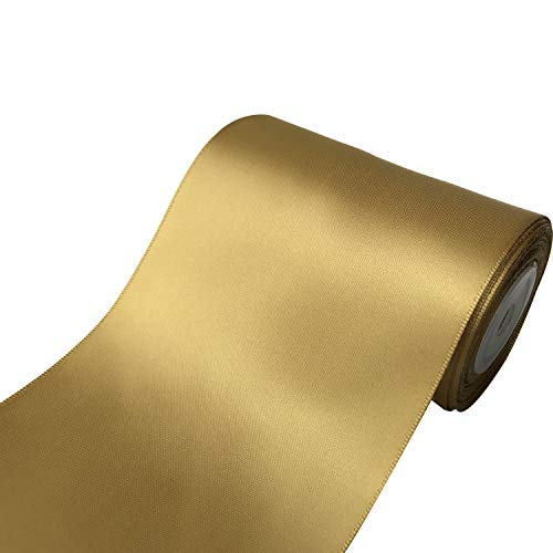 QIANF 4 inch Wide Solid Color No Fading Double Face Satin Ribbon Great for Chair Sash - 10 Yard (687-Gold)
