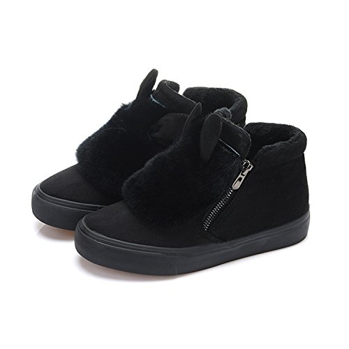 Warm Winter Ears Ankle Hair Keep Rabbit Shoes Fashion Fur Boots Women Black Tribble Natural Jeff wBPFzq