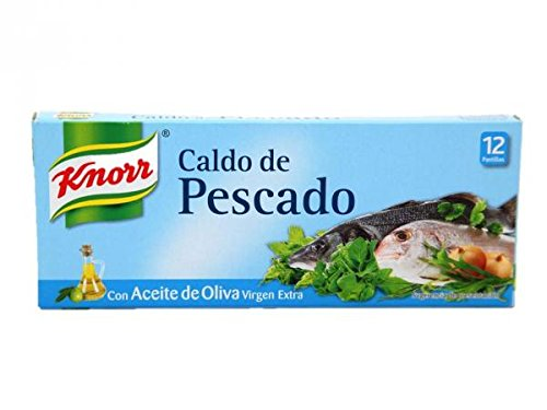 (Knorr Fish Bouillon Cubes in Extra Virgin Olive Oil 12 Pack 120 Grams Caldo De Pescado Stock Gluten Free)