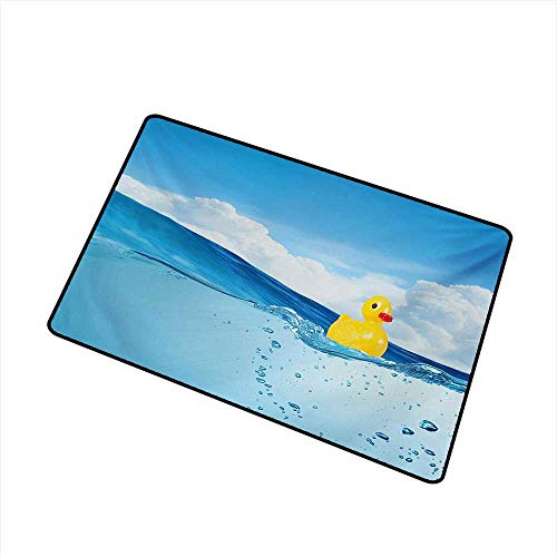 (Becky W Carr Rubber Duck Universal Door mat Little Duckling Toy Swimming in Pond Pool Sea Sunny Day Floating on Water Door mat Floor Decoration W29.5 x L39.4 Inch,Blue and Yellow)