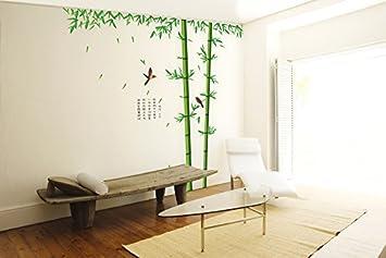 Ufengke Xlarge Vert Serie De Jardin Fuga Bambou Et Oiseaux Stickers