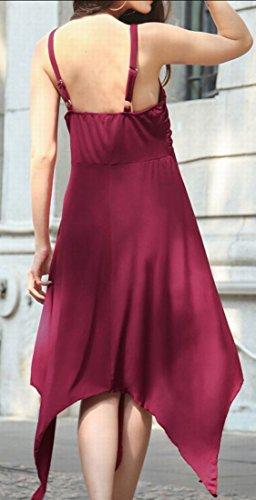 Jaycargogo Rosso Donna Bordo Irregolare Vino Vestito Sportiva Carro Armato Backless Solido Involucro rrqCAw