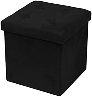 Sorbus Faux Suede Storage Ottoman Cube Foldable Collapsible With Button Lid Cover Perfect