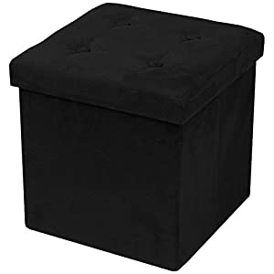 Sorbus Storage Ottoman Bench – Collapsible/Folding Bench Chest with Cover – Perfect Toy and Shoe Chest, Hope Chest, Pouffe Ottoman, Seat, Foot Rest, – Contemporary Faux Suede