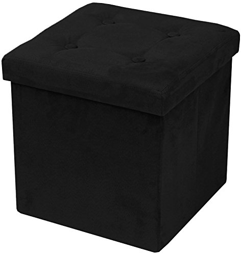 Fabric Small Bench (Sorbus Storage Ottoman Bench – Collapsible/Folding Bench Chest with Cover – Perfect Toy and Shoe Chest, Hope Chest, Pouffe Ottoman, Seat, Foot Rest, – Contemporary Faux Suede (Black))