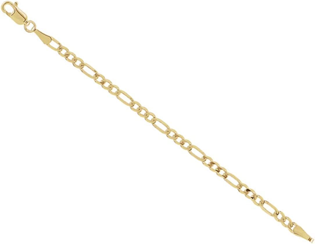 3mm 14k Yellow Gold Figaro Chain Necklace Extender Safety Chain, 3""