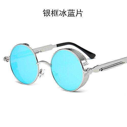 LXKMTYJ Cercle, Metal Punk Lunettes Petite boîte miroir reflet coloré Taizi Mme Rétro lunettes de soleil, l'argent fort Ice Blue Chip