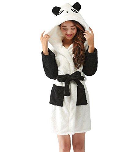 con Vestaglia in animati Cappuccio di Unisex Abiti amp;L Panda da notte con Pile Y Cintura Abiti Morbido Accappatoio Adulto cartoni 4qTxCwZ