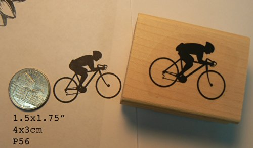 Bicycle Rubber Stamp - Bicycle rider rubber stamp P56