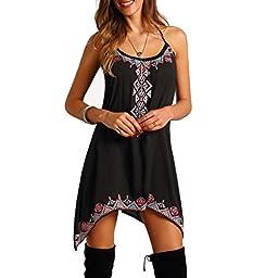HOT SALE !Boho Sleeveless Mini Dress,BeautyVan Fashion Design Women Boho Sexy Summer Sleeveless Party Beach Short Mini Dress (XL, Black)