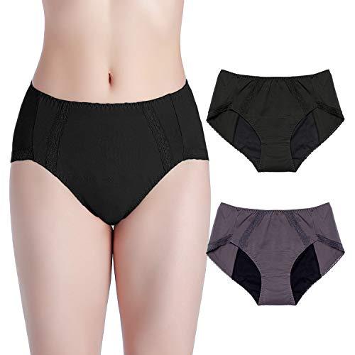 Intimate Portal Women Girls Period Panties Incontinence Leak Proof Menstrual Underwear 2-pk Black Gray XL