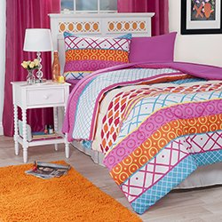 Lavish Home 21-Piece Terri Kids Bedroom and Bathroom Comforter Towels Set, Twin