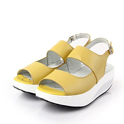 Donyyyy Balanceo inferior grueso zapatos boca de pescado inferior grueso calzado de playa casual femenino Thirty-nine