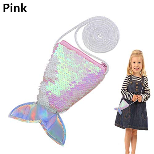 SUSHAFEN 1Piece Mermaid Tail Purse Bags Pouch Sequins Coin Wallet Bag Glitter Girls Crossbody Bags for Money Change Card Candy Holder Novelty Girls Gift Bags Mermaid Party Supplies ()
