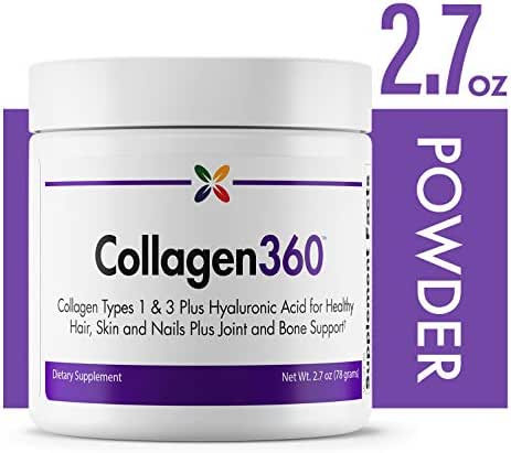 Collagen360 - Collagen Types 1 & 3 Plus Hyaluronic Acid for Healthy Hair, Skin and Nails Plus Joint and Bone Support - Stop Aging Now - 2.7 oz (78 Grams)