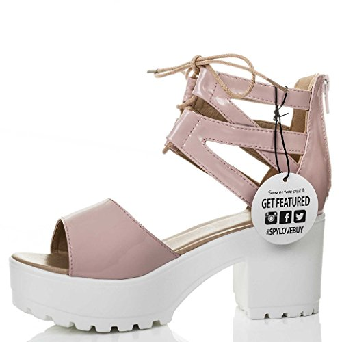 SPYLOVEBUY RAVE Women's Lace Up Cleated Sole Block Heel Sandals Shoes Nude Patent P4K1ReXow9