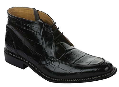Crocodile High Top - Liberty Men's Crocodile Print Ankle High Top PU Leather Lace up Dress Shoes