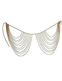 Jewelry Simple Personality Versatile Geometric Waist Chain Metal Rhinestone Multi-Layer Tassel Fashion Body Chain