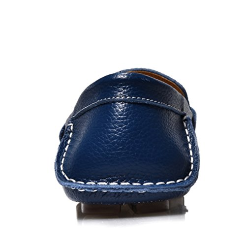 Sunrolan Leonardo Mens Driving Shoes Pelle Slip-on Penny Loafer 1718 Blu