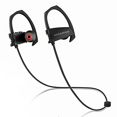 Accering Wireless Bluetooth Headphones, Best Running/Sports Earphones, IPX7 Sweatproof Bass Stereo in Ear Headset with Mic for iPhone, Gym, Workout (Best Quality Headphones In India)