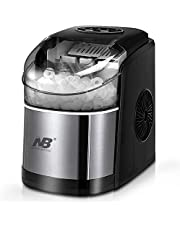 Compact Ice Cube Maker for Countertop, Self-Cleaning Function, Making Bullet Ice Cubes 12Kgs/24 hrs, 9 Ice Cubes Per 8 Mins, with Ice Scoop for Home Kitchen, Bars, Coffee Tea Shops