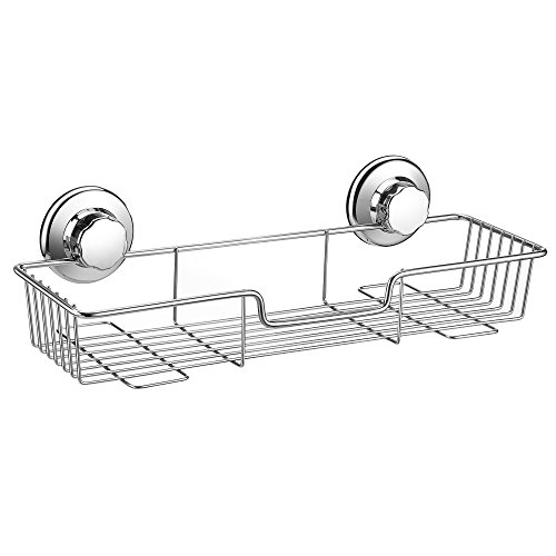 iPEGTOP Strong Suction Cup Shower Caddy Bath Shelf Storage, Combo Organizer Basket for Shampoo, Conditioner, Soap, Razor Bathroom Accessories - Rustproof Stainless Steel