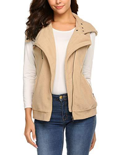 Beyove Women's Spring Fall Full Zip Warm Fleece Vest Khaki M ()