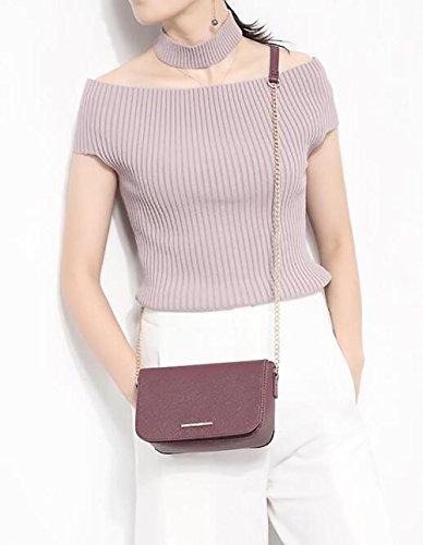 Damen-Tasche Umhängetasche Flip-Kette kleine quadratische Tasche klassisches PU-Leder Weinrot