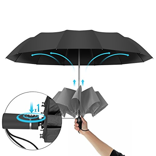 12 Ribs Travel Umbrella Windproof-Compact Umbrella with Auto Open/Close- Simplified Design Umbrella for Men&Women Ruxy Humy (Black) by Ruxy Humy (Image #5)