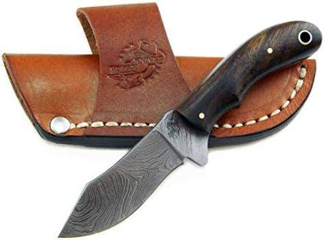 Knives Ranch Durable Handmade Damascus Steel Knife Full Tang Little-Finger Skinner