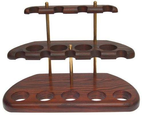 Dr.Watson - 9 Smoking Pipe / Pipes Stand Rack Hold Case Display - Arch IX - Solid wood, Brass