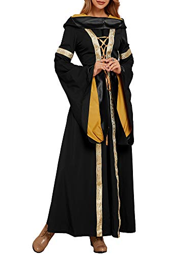 Ofenbuy Womens Deluxe Victorian Dress Vintage Gothic Renaissance Medieval Dresses Cosplay Halloween Black ()