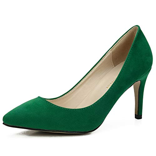 Women's Classic Pointed Toe Stiletto High Heel Dress Pumps Shoes Green 44 - US 10 ()