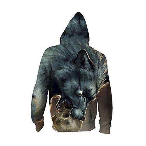 Tops Avec Poche Acvip Imprimé Style Pour À Sweat Manches Homme Animal shirt 8 Veste Capuche Pull Zippé Longues Hoodie F8PvFq