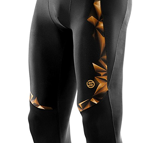 Skins Men's A400 Compression 3/4 Tights, Black/Gold, Small by Skins (Image #5)