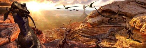 Dinosaur Poster T Rex and Raptors