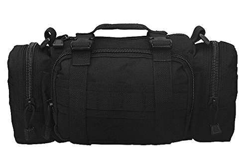 Rope Deployment Carry Bag (FIRECLUB Black Deployment Waist Chest Pack Outdoor Military Duffle Tactical Assault Combined Backpack Rucksack Sport Molle Camping Trekking Messenger Crossbody single Shoulder Bag +6 Key Buckle)