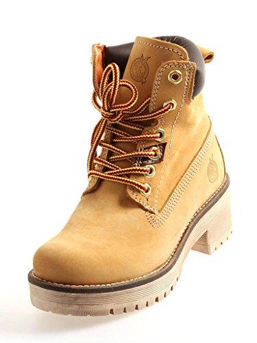 FAT COMPANY DONNA combatboots Scarpe con lacci stivali con lacci scarpe di cuoio Tessile - Panama, 36 EU