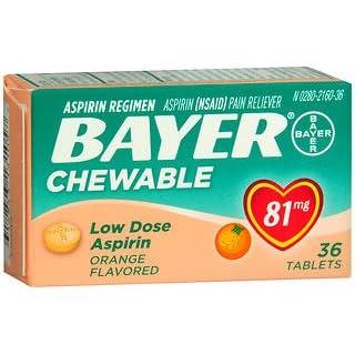 Bayer Chewable Aspirin Orange, 81mg, 36 Tablets (Pack of 4)