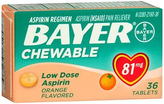 Bayer Chewable Low Dose 'Baby' 81 mg Tablets Orange - 36 ct, Pack of 4