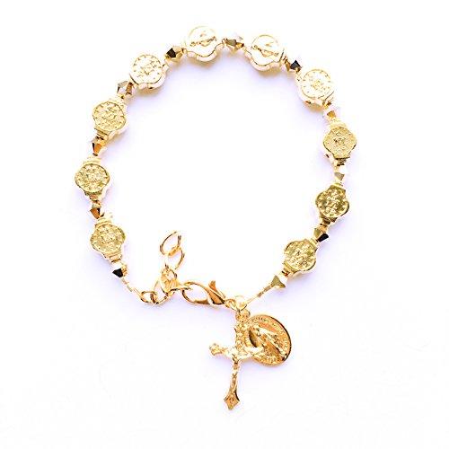 - Rana Jabero Gold Swarovski crystal Miraculous Medal Crucifix Cross Charm Religious Bracelet