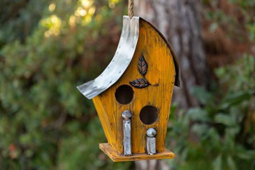 Alpine Corporation YEN134HH-YL Artful Wooden Birdhouse, 12 Inch Tall, Yellow