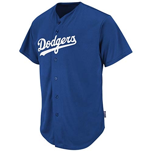 Style Pro Button Full Adult (Majestic Adult MLB Cool Base Pro Style Game L.A. Dodgers Jersey Royal Medium)