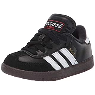 adidas Boys' Samba Classic Soccer Shoe, White/Black/White, 2.5 M US Little Kid