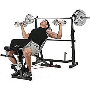 elifine Adjustable Olympic Weight Bench Power Tower Workout Dip Station with Preacher Curl Leg Developer Multi-Functional Weight Bench Set for Indoor Gym Home Fitness Exercise