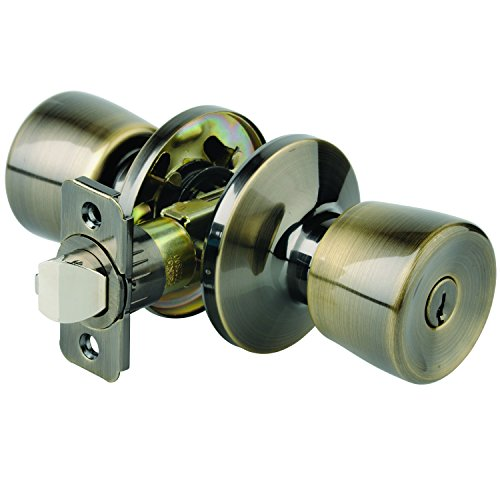 Brinks 2710-109 Bell Style Mobile Home Keyed Entry Knob, Antique Brass ()