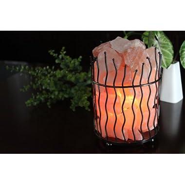 WBM Himalayan Glow Natural Air Purifying Himalayan Pillar Style Basket salt lamp with Salt Chunks, Bulb and Dimmer control
