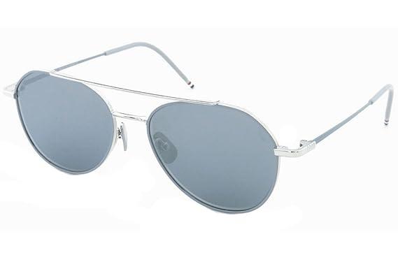 90e23ca5c07 Amazon.com  Thom Browne TB 105 Sunglasses 55 mm Silver  Clothing