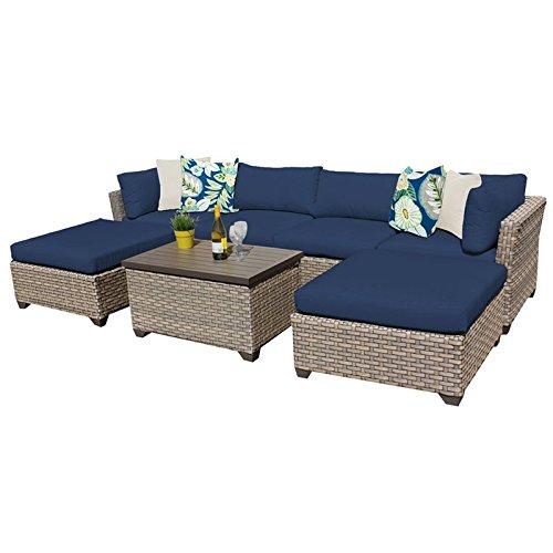 TK Classics MONTEREY-07b-NAVY Monterey 7 Piece Outdoor Wicker Patio Sectional Sofa Set, Navy